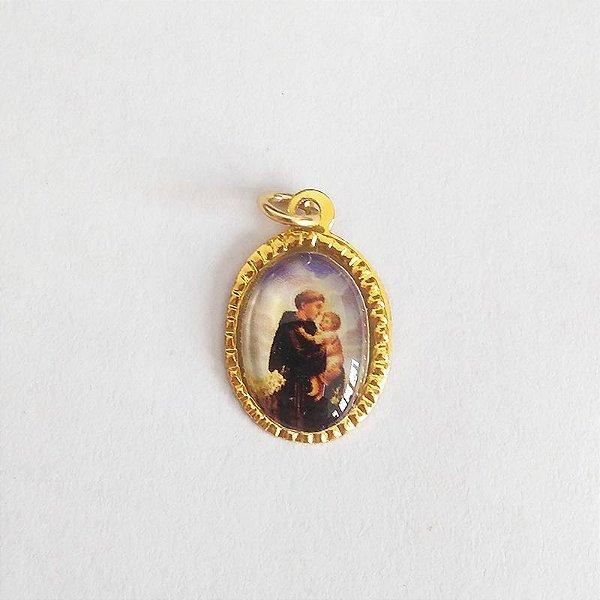 Medalha de Alumínio Resinada - Santo Antonio - Pacote com 100 peças - Cód.: 447