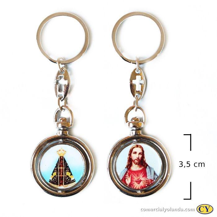 Chaveiro Giratório Sagrado Coração de Jesus e Nossa Senhora Aparecida - O pacote com 3 unidades - Cód.: 920
