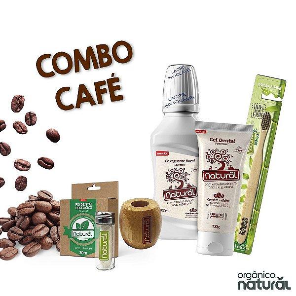 COMBO CAFÉ  ( 1 Fio Dental de Milho + Refil de Fio Dental de Milho + Escova Dental + Suporte + Gel Dental Café + Enxaguante Café)