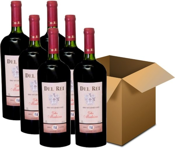 Vinho de Mesa - Del Rei Tinto Suave Velha Madeira Bordô 6x1L