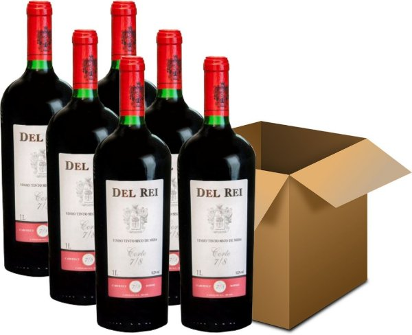 Vinho de Mesa - Del Rei Tinto Seco 7/8 Cabernet Sauvignon Bordô 6x1L