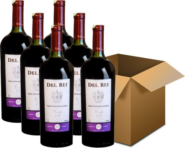 Vinho de Mesa - Del Rei Tinto Suave 7/8 Cabernet Sauvignon Bordô 6x1L