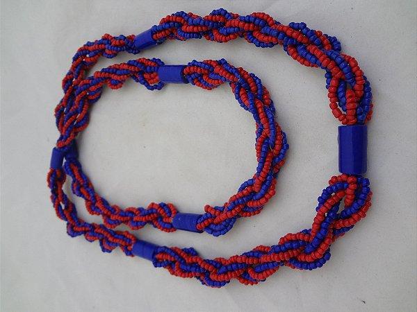 Brajá - 6 Fios - Opaco - Vermelho e Azul