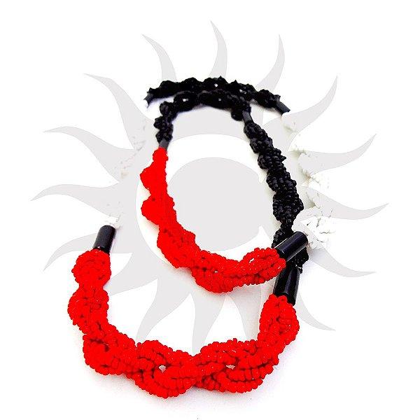 Brajá - 6 Fios - Opaco - Vermelho, Preto e Branco