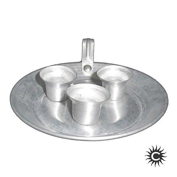 Castiçal -  Porta Velas - Alumínio - 3 velas