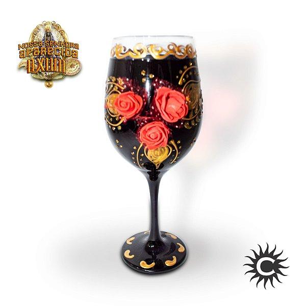 Taça  de Luxo Preta com rosas vermelhas