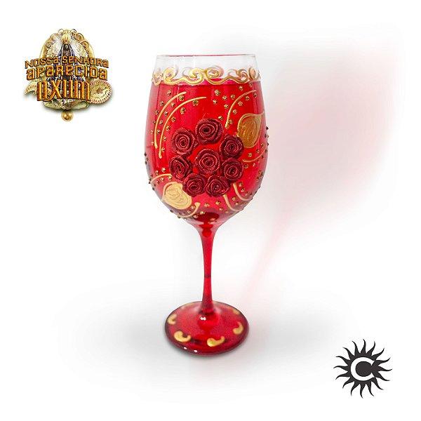 Taça  de Luxo Rosa Vermelha