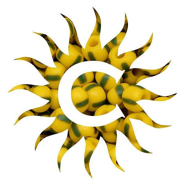 Missanga - Rajada - 500g - Amarela e Verde