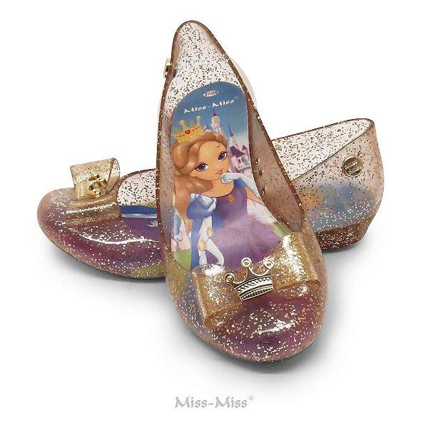 Sapatilha Infantil Princess - Ouro Gliter