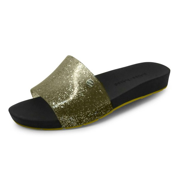 Chinelo Slide Bright Miss-Miss | Ouro Gliter