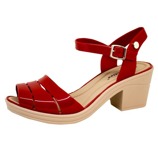 Sandália Energy Fashion Salto Bloco 135   Vermelho