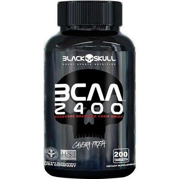 BCAA 2400 400 Tabletes Caveira Preta - Black Skull