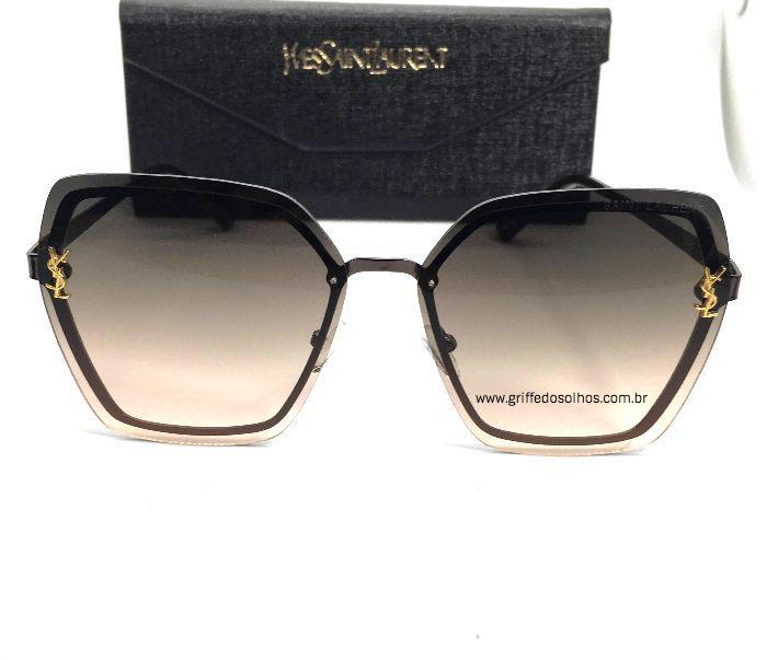 Oculos de Sol  Saint Laurent - Metal Luxury Cinza Degrade