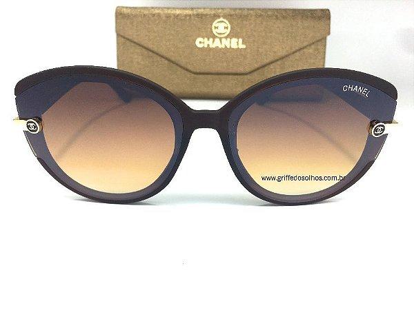Óculos de Sol Chanel Gatinho Marrom / Leve Espelhado