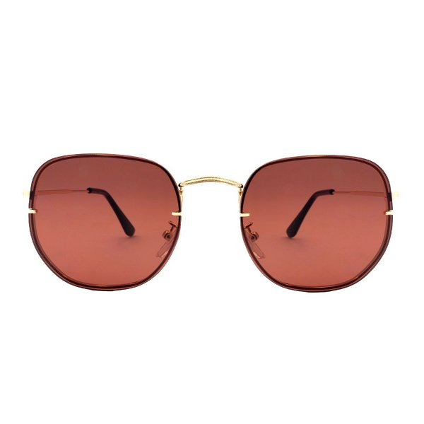 Óculos de Sol Hexagonal Lente Rose - Unissex