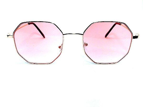 Oculos de Sol Shander - Armação Octagonal -  Lente Rose