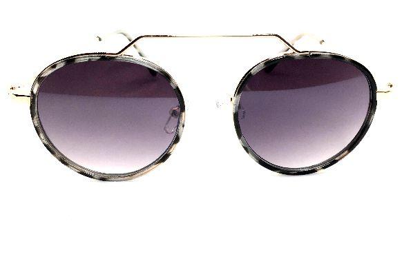 Oculos de Sol Redondo de Metal  Animal Print Unissex