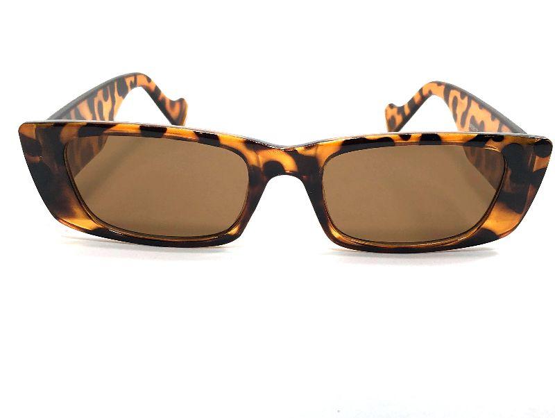 Óculos De Sol Retangular Retrô Leopardo