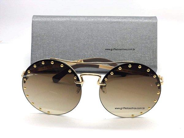 Round Louis Vuitton Óculos de Sol Redondo Marrom com Tachas Douradas