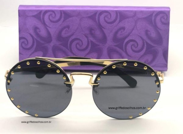 Round Louis Vuitton Óculos de Sol Redondo Preto com Tachas Douradas
