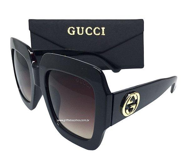 Óculos Quadrado - GUCCI GG  GG0053S Armação Preta