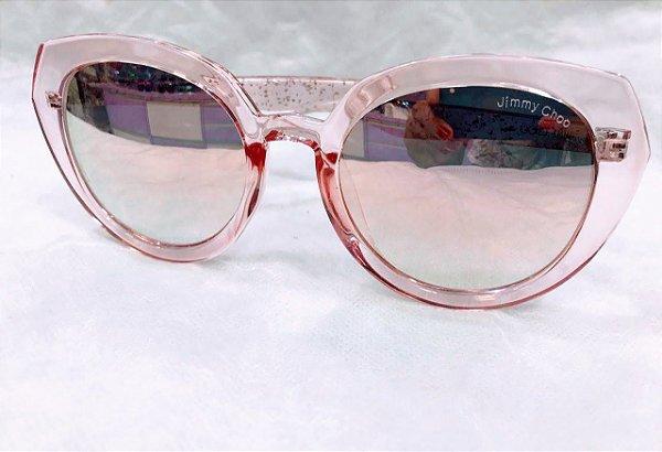 5d6e3c3e4 Jimmy Choo Acrilico Rosa Brilho Transparente - Oculos de Sol ...