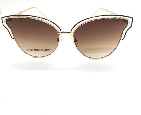 Óculos de Sol Dior  Gatinho Armação de Metal /  Lente Marrom