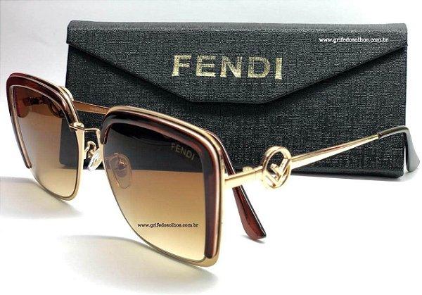 FENDI FF 0294/S09Q - Marrom/Dourado - Tamanho da Lente 5,8