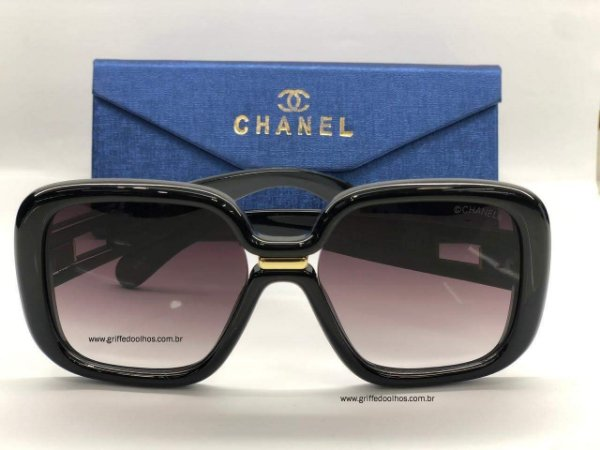 Chanel Quadrado Feminino Preto - Oculos de Sol