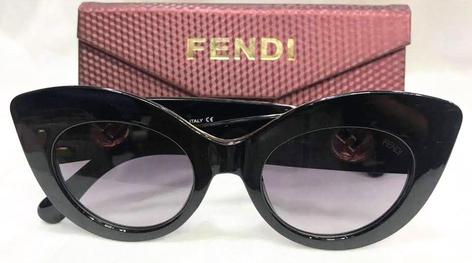 FENDI FF 0306 S CATEYE - ÓCULOS DE SOL 807 IR PRETO / MARROM BRILHO E DOURADO/ PRETO Lente 5,0 cm