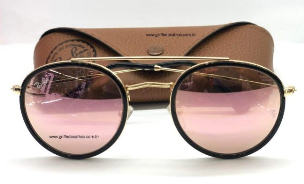 oculos de sol ray ban round double bridge preto rb3647