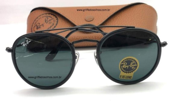 RAY BAN PRETO 3647N 001 51 ROUND DOUBLE BRIDGE - ÓCULOS DE SOL