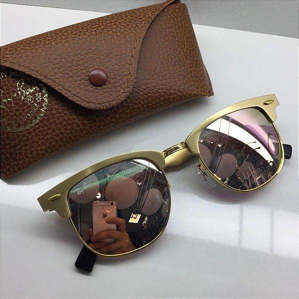 1a3db5475 Ray Ban Clubmaster ALUMÍNIO Dourado RB3507 137/40 - Óculos de Sol ...