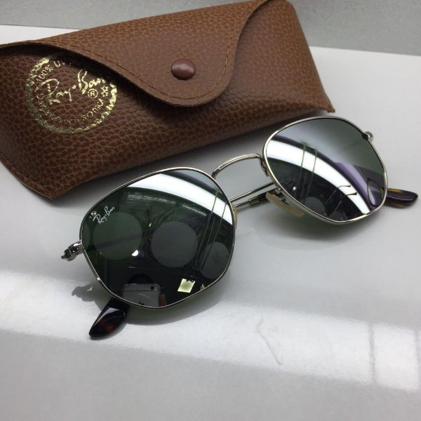 Ray Ban - RB3548-N - Óculos de Sol Hexagonal Armação Prata - Griffe ... 21c0edc61c