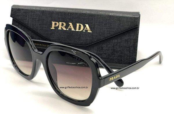Prada PR16US - Quadrado Preto - Óculos de Sol