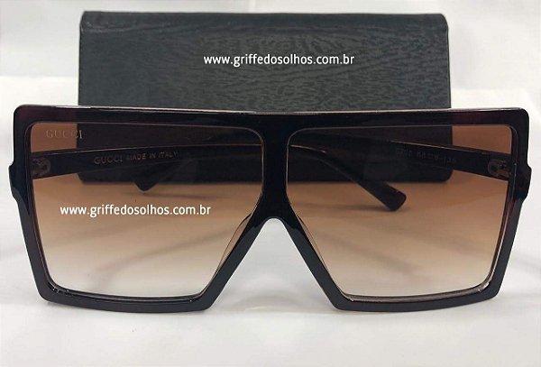 b942874a8 Gucci Máscara Oversized - Oculos de Sol Grande Quadrado Lente Transparente