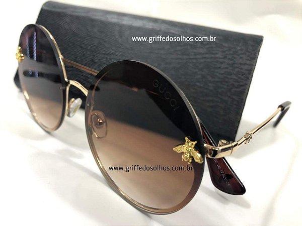 5d85d059f95b3 Óculos de Sol Redondo Gucci - Bee Abelha - Griffe dos Olhos ...