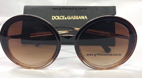 57486d05a5a2a Óculos de Sol Redondo Dolce Gabbana - Acetato Marrom - Griffe dos ...