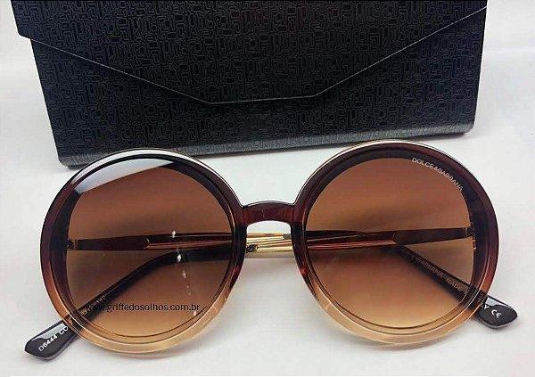 Óculos de Sol Redondo Dolce Gabbana - Acetato Marrom