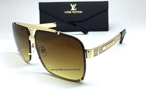 Louis Vuitton Óculos de Sol Masculino - Mascara Lente Marrom