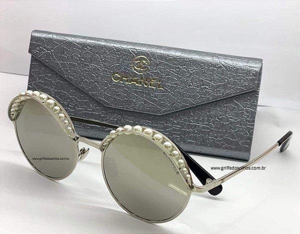 Óculos Chanel  CH4234H  Redondo Pérolas / Espelhado