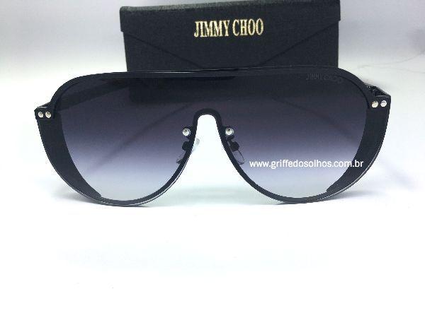 Óculos de sol Jimmy Choo Máscara Oversized -  Feminino Preto