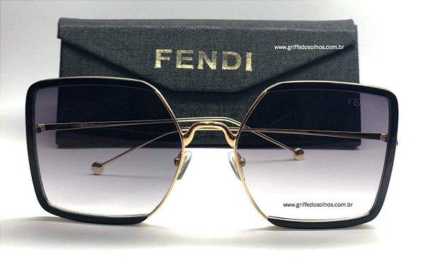 Oculos Grande Fendi Quadrado - Armação Dourada