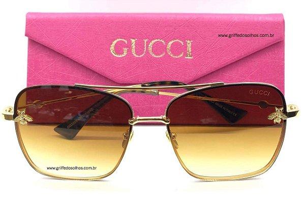 Óculos Gucci Bee Quadrado Lançamento Abelha