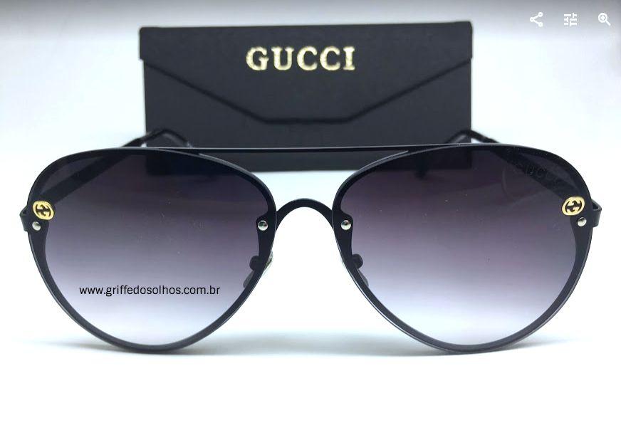 Óculos Aviador  Gucci Preto