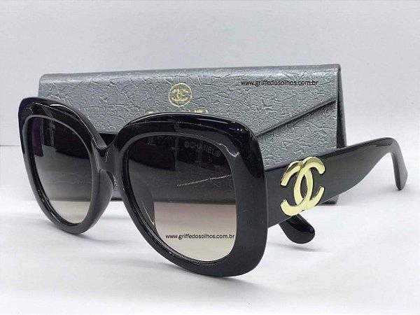 Óculos de  Sol Chanel Ch4106  Luxuoso Acetato Preto Logo Dourado