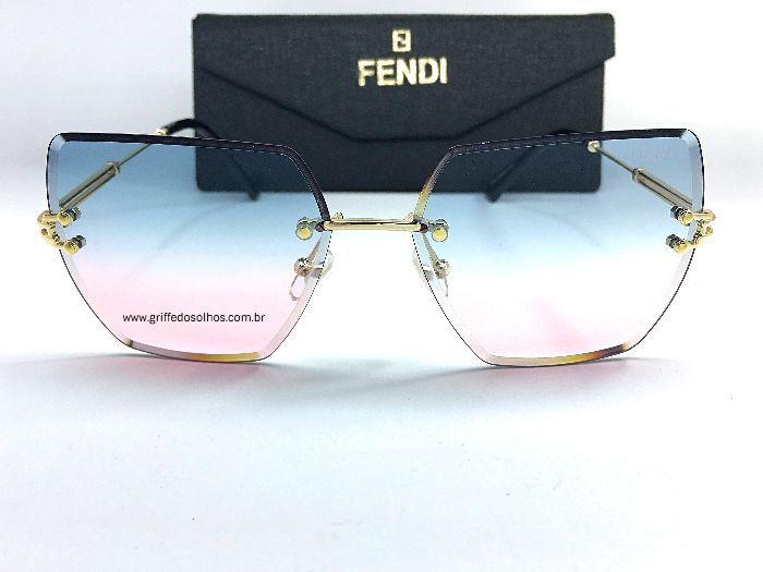 Óculos de Sol Fendi -Rainbow -  Transparente Sem Aro - Gradiente