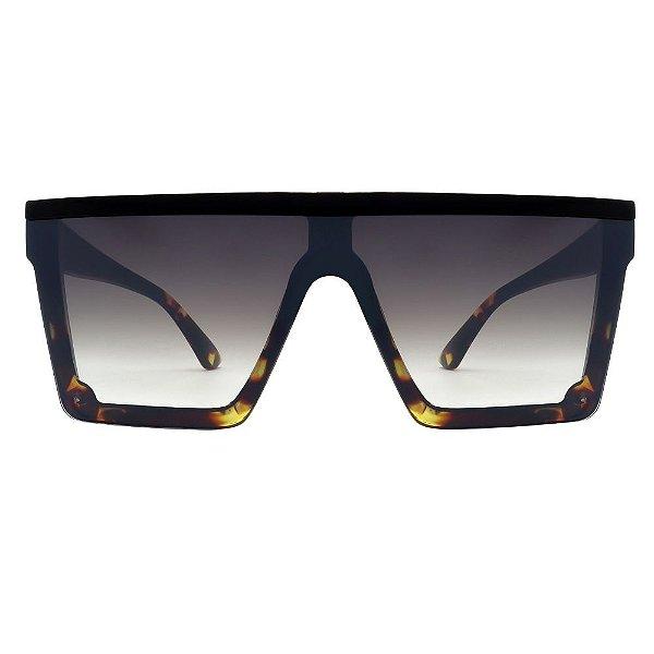 Óculos de Sol  Quadrado Preto/ Tartaruga Espelhado