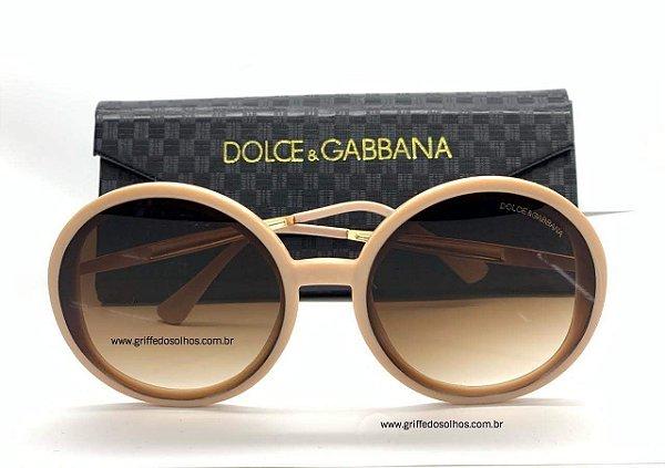 Óculos de Sol Redondo Dolce Gabbana - Acetato Nude