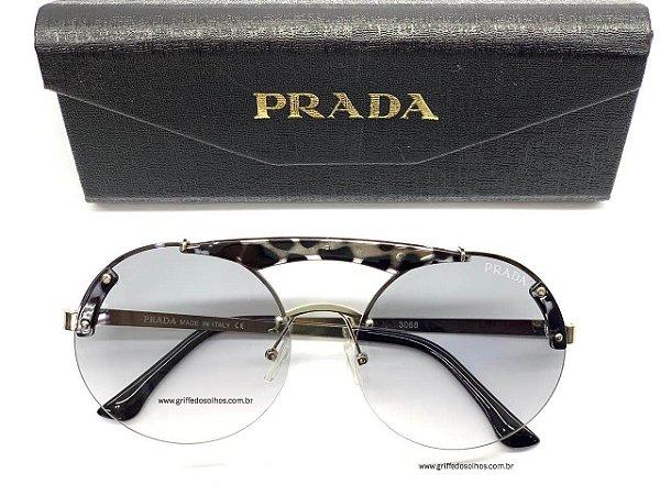 Óculos Prada PR Redondo 52US SZ - Detalhes de Leopardo